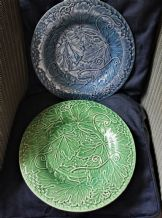 "2 X VINTAGE MAJOLICA BORDALLO PINNEIRO 12.25"" RAISED VINE LEAF PLATES BLUE GREEN"
